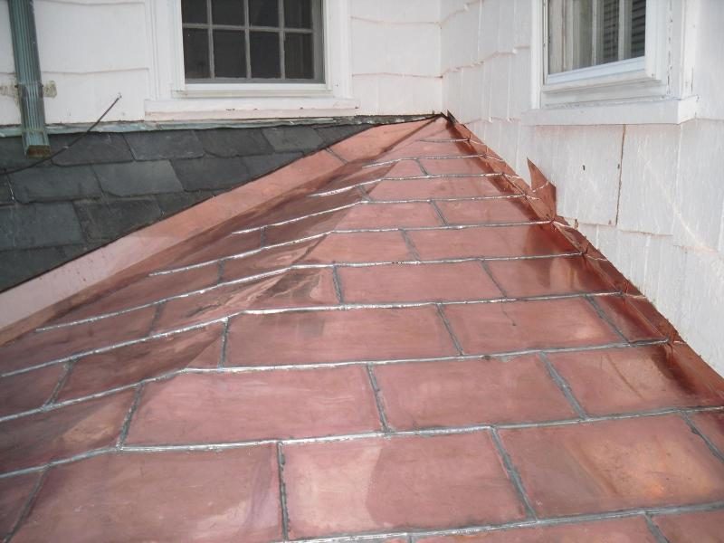 Flat Seam Copper Roof, Brookline, MA